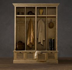 Shutter Weathered Oak 4-Bin Entry Locker | Shelving & Cabinets | Restoration Hardware