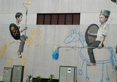 Two brave knights. #Singapore #StreetArt