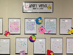 Angry verbs. Students pick a bird, write a story or description of their bird. Then Highlight the linking and helping verbs using different colors.