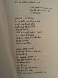 """Wie du solltest geküsst sein"" by Erich Fried...Okay but no this is really sweet!"
