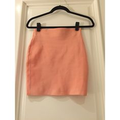 Coral Mini Great length great color. Really nice thick but thin material that helps shape the waist ! Purchased from a boutique and worn once in the photo, absolutely love it Nasty Gal Skirts Mini