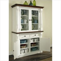 Home Styles Monarch Buffet and Hutch in White and Oak Finish