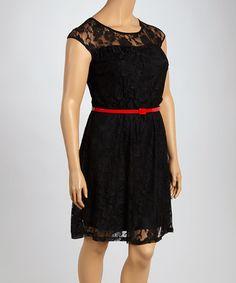 Look at this #zulilyfind! Black Lace Belted Dress - Plus #zulilyfinds