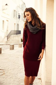 We're feeling oxblood sweater dresses to fully embrace Fall!