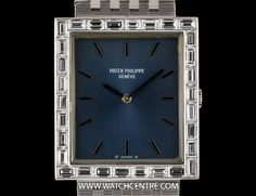 patek philippe w g blue baton dial bagutte diamond bezel mid size 3540 2 An White Gold Mid-Size Wristwatch, blue dial with applied index batons, an white gold fixed bezel set with 30 baguette cut diamonds - Watchcentre Patek Philippe Aquanaut, Patek Philippe Calatrava, Watches For Men, Women's Watches, Diamond Cuts, White Gold, Baguette Diamond, Clocks