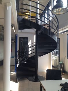 Spiral staircase powder coated black