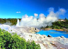 Rotorua, New Zealand...the smell of sulfur just hits you when you enter this town, but the boiling mud and all the geothermal parts of Rotorua are amazing!