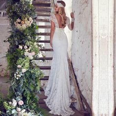 Anna Campbell Lace Bohemian Wedding Dress 2015 Sweetheart Sexy Backless Wedding Gown Cap Sleeve Mermaid Vestido De Noiva