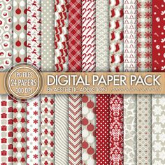 Christmas Holiday 24 Pack Digital Paper - Damask Floral Geometric - Red White Gray - 300 DPI - JPG Format - 24180