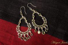 Peridot-studded Pure Silver Earrings.