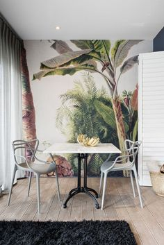 Boutique Hotel | Banana wallpaper | Gold | Kartell | Masters chair | Marble | Dining | Interior design | Etienne Hanekom Interiors: