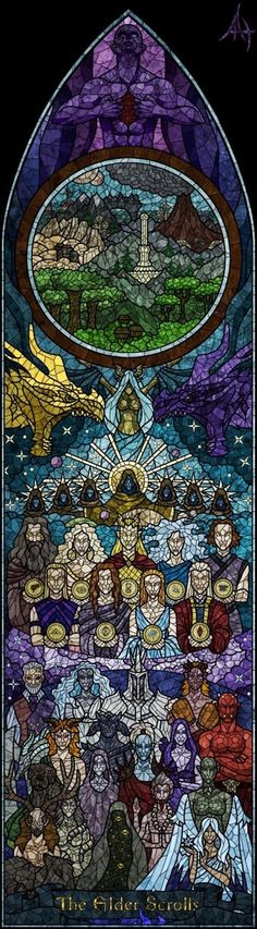 Stained glass of main religions in the Elder Scrolls: Skyrim. We have the Tribunal, the Dragon Cult, the Nine Divines, and the Daedric Princes. In the circle, the provinces of Tamriel are shown. Totally wish this astonishing piece of art was real. The Elder Scrolls, Elder Scrolls V Skyrim, Elder Scrolls Online, Elder Scrolls Games, Dragon Age, King's Quest, Daedric Prince, Bethesda Games, Video Game Art
