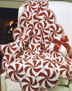 35+ PRIZE AFGHAN CROCHET PATTERN BOOK ~ PEPPERMINT SWIRL + NOAH'S ARK + SNOWMAN.  I finally found the pattern--can't wait to order it!!  So pretty!!