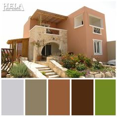Street colors Stucco Exterior, House Paint Exterior, Exterior House Colors, Interior And Exterior, Bungalow House Design, Small House Design, Home Wall Painting, Courtyard Entry, Paint Colors For Home
