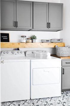 Elegant Monochromatic Utility Laundry Room
