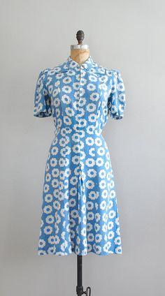 1930s dress / cotton 30s dress / Sawblade dress