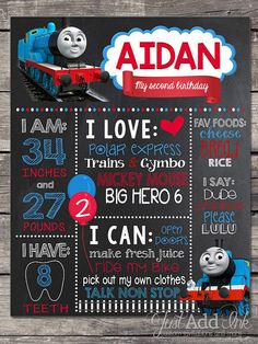 WELCOME To Just Add Ink!  All aboard!   You don't want to miss out on this super cute Thomas the Train inspired first, second, or third birthday chalkboard sign or poster for child's birthday party and/or birthday photo shoot! It's super easy ~ simply print it out and have them hold it up ~ and viola! Cute as can BE!  Excellent for those precious keepsakes as well :)    A birthday chalkboard is a GREAT conversation piece for a birthday party, GREAT prop for photo shoots and a GREAT keepsake…