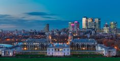 A typical example of contrasting architecture in London with the Old Royal Naval College in the foreground and the financial district of Canary Wharf in the background. Example Of Contrast, Architecture Portfolio, London Photos, Embedded Image Permalink, San Francisco Skyline, New York Skyline, Travel, England, Countries