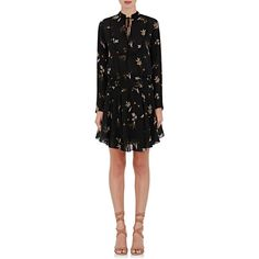 A.L.C. Women's Campbell Flower-Print Crepe Dress (10.335 ARS) ❤ liked on Polyvore featuring dresses, black, floral dresses, tie neck dress, a l c dress, neck-tie and v-neck dresses