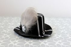 The Grey Lady  Mini Top Hat Hair Clip Fascinator by earthcharms (Accessories, Hair, Clip, earthcharms, socoetsy, mini top hat, black, grey, gray, ribbon, duck feathers, cameo, flowers, rhinestones, white, eyelash)