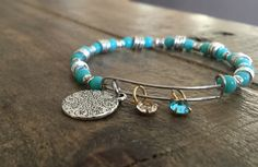 summer fun blue silver gold bronze alex and ani inspired bracelet bangle - pinned by pin4etsy.com