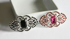 """Hot Pink or Black Silver Rhinestone Embellishment 2.5"""" Wide You Choose Color for Hair Clips Facinators Headbands Hats Brooch DIY Projects by HouseofHairDecor on Etsy"""