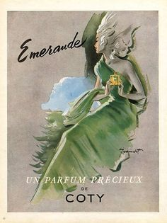 Coty Perfumes 1948 Emeraude Jeandot Vintage advert Perfumes illustrated by Rene Jeandot | Hprints.com