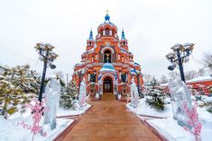 """7 amazing Russian churches that seem right out of a fairytale.Despite its remote location, the city of Irkutsk, located on the shore of Lake Baikal in Siberia, hosts one of the most beautiful Russian Orthodox churches there is. The Church of Our Lady of Kazan, also called """"Red Church"""" by the locals opened on Easter 1892 after seven years of construction. This church was built in the Neo-Byzantine style and was renovated from 1990 to 2012."""