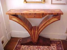 Vintage Art Deco Inlaid Console Table
