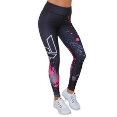 b15bc845b72aa Printing Dry Fit Elastic Yoga Pants. Women's Athletic LeggingsGym ...
