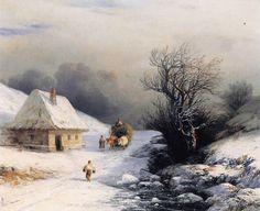Little Russian Ox Cart in Winter via Ivan Aivazovski Size: 41x34 cm Medium: oil, canvas