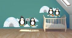 A family of penguins was the inspiration behind this cute wall decal pack. Ideal to decorate your nursery or any other spaces for babies, this set includes 2 igloos, 4 penguins, a mailbox, 2 ice holes, 7 snow balls, a fish, a bait and a shovel. It comes in 5 different sizes.