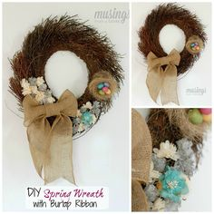 DIY Simple Spring Wreath with Burlap Ribbon - check out this and other DIY wreath tutorials for inspiration!     happydealhappyday.com