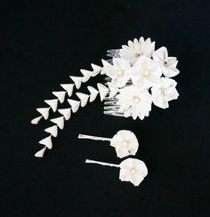 White Cherry Blossom Bridal Kanzashi Set by JapaneseSilkFlowers