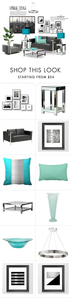 """""""Cool Tones & Modern Living Decor"""" by colormegirly ❤ liked on Polyvore featuring interior, interiors, interior design, home, home decor, interior decorating, WALL, Inno, Zuo and IMAX Corporation"""