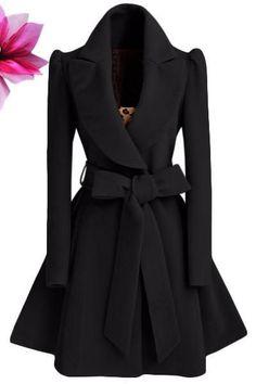 Pure Color Belt V-neck Bowknot Belt Long Sleeves Long Coat #cutewintercoats