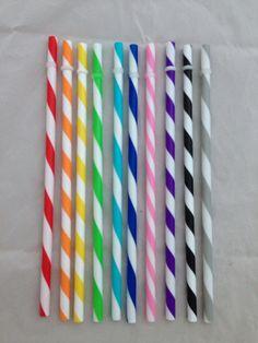 Set of 50 plastic BPA free striped straws- you choose color! pink purple black red green orange blue gray yellow