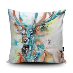Proud and regal, ready to sit on posh sofas only! Monarch of the Glen by Liz Chaderton is digitally printed onto super soft faux suede - the sort of velvety material that makes you go 'ooooh' when you cuddle it. Supporting emerging artists in the UK, handmade in the UK your very own art work on a cushion. Click to view