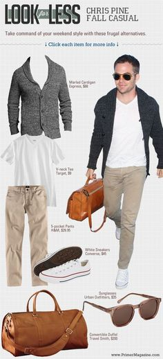 Look for Less: Chris Pine Fall Casual | Primer