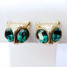 1940's Vintage Designer Figural Owl Earrings By Coro from Vintage Jewelry Girl! http://www.rubylane.com/shop/vinjgirl #vintagejewelry #vintagejewellery #coro #vintageearrings