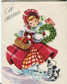 Vintage-Artistic-Christmas-Card-Little-Girl-with-Dog-and-Packages