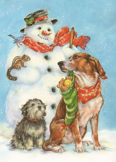 Dogs and Snowman --- Christmas By Donna Race
