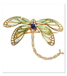 Russian Art Nouveau Gold, Plique-à-Jour Enamel, Sapphire and Diamond Dragonfly Brooch. Rose-cut diamonds, with Russian assay mark, c. 1900.