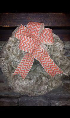 Custom+Burlap+and+Orange/Natural+Chevron+by+TheRedHeeledWreath,+$25.00