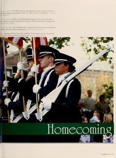 """Athena Yearbook, 2004. """"Members if Ohio University's AFROTC Color Guard carry the colors down Union Street during the Homecoming parade."""" :: Ohio University Archives"""