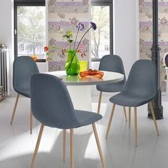 Dining Chair FurnitureR 4 Pcs Modren Eames Unique Design Fabric Dinning Seat Metal Legs Chair Set for Dining Room Home Chair Blue - Works as designed and well b Modern Dining, Living Room Chairs, Midcentury Modern Dining Chairs, Dining Furniture, Dining Table In Kitchen, Upholstered Seating, Fabric Dining Chairs, Side Chairs Dining, Dining Chairs
