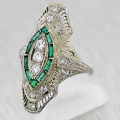 Antique Art Deco 1930's Emerald and Diamond ring