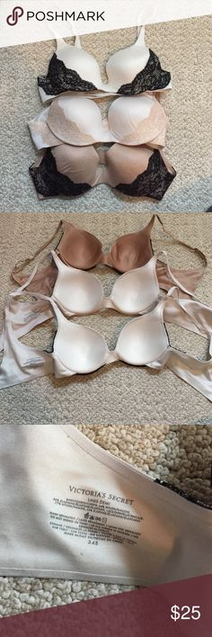 *BUNDLE* of THREE Victorias Secret lined Demi bras Size 34B! These lined Demi bras from Victoria's Secret have barely ever been worn and are in great condition! All three for $25!! White/black, off white/rose gold, & gold/black. Extremely comfortable. Selling bc they are too big for my itty bittys. Victoria's Secret Intimates & Sleepwear Bras
