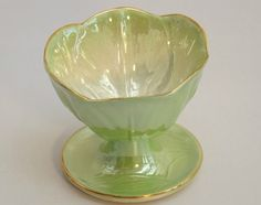 Beautiful Vintage Maling Green Lustre Sundae Dish