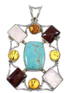 Multicolor Genuine Sterling Silver Southwest Pendant